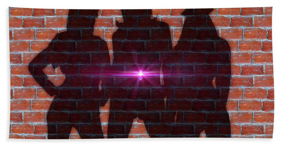 Shadow Hand Towel featuring the photograph The Shadow Of The Grafitti Ladies by Ericamaxine Price