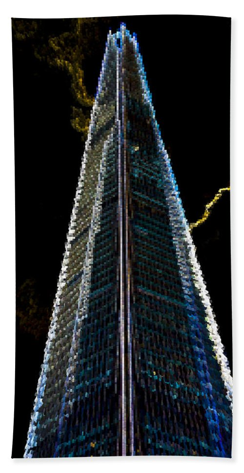 Shard Hand Towel featuring the digital art The Shard London Art by David Pyatt