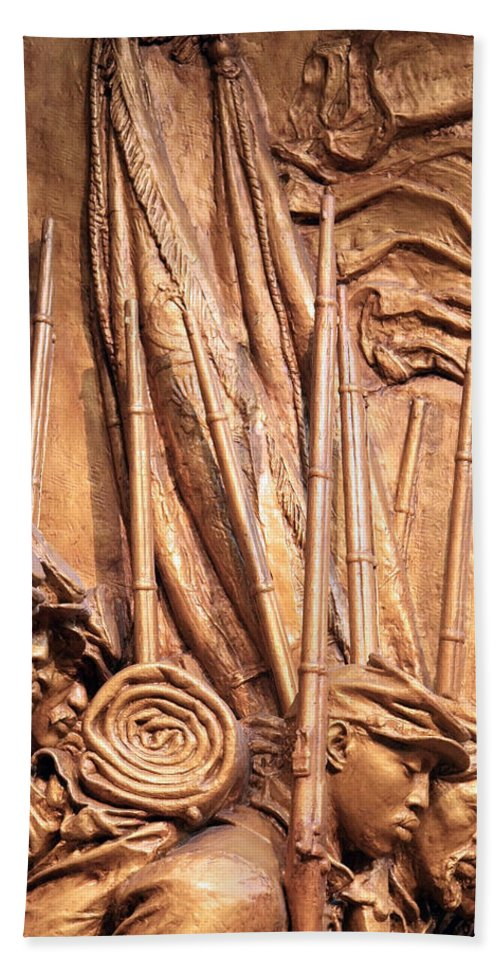 Shaw Hand Towel featuring the photograph Saint Gaudens -- The Shaw Memorial's Left Side by Cora Wandel