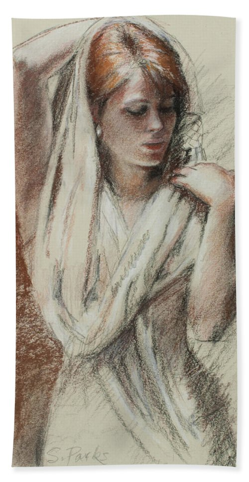 Figurative Hand Towel featuring the painting The Shawl by Sarah Parks
