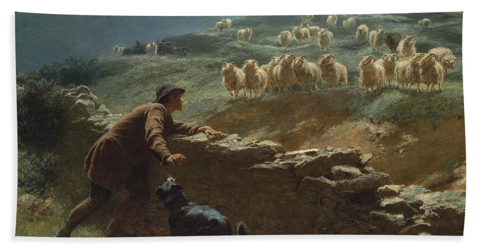 Briton Riviere Hand Towel featuring the painting The Sheepstealer by Briton Riviere