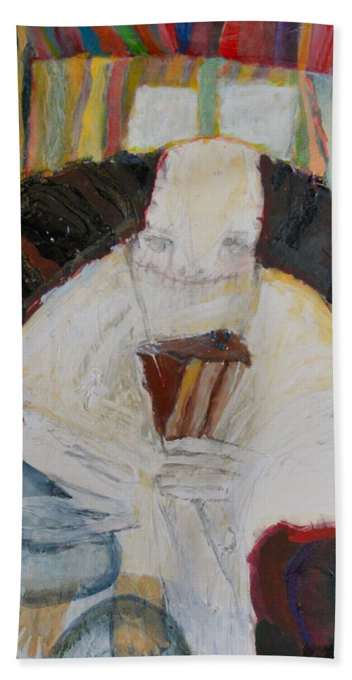 Abstract Modern Outsider Raw Figure Chocolate Cake Slice Necklace Portrait Hand Towel featuring the painting The Shoe Isn't Important The Run Is by Nancy Mauerman