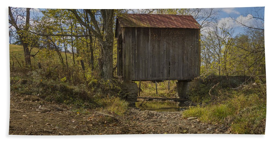 Architecture Bath Sheet featuring the photograph The Shortest Covered Bridge I Have Seen by Jack R Perry