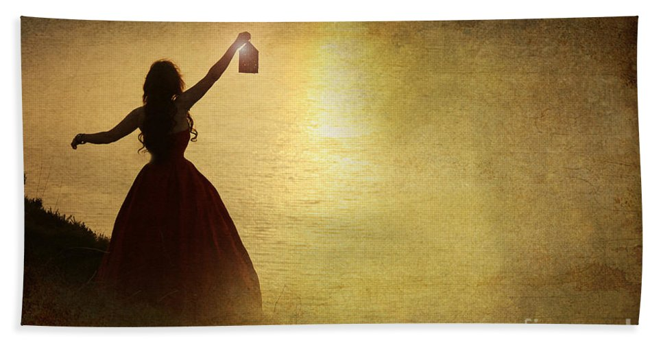 Woman Hand Towel featuring the photograph The Lady With The Lamp by Jacqueline Moore