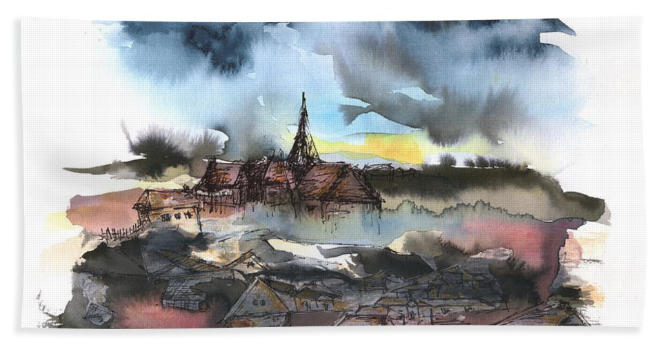 Watercolor Landscape Bath Sheet featuring the painting The Sinking Village by Aniko Hencz