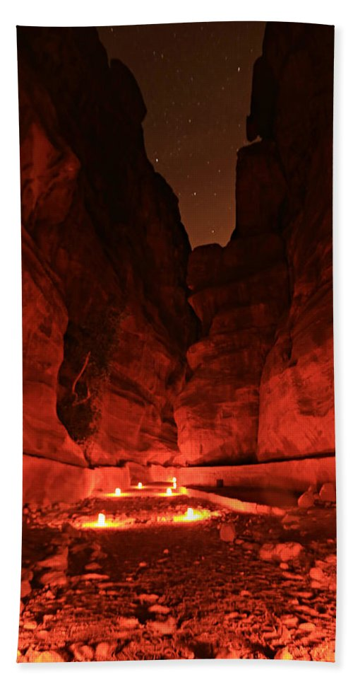 Adventure Bath Sheet featuring the photograph The Siq -- Petra by Stephen Stookey