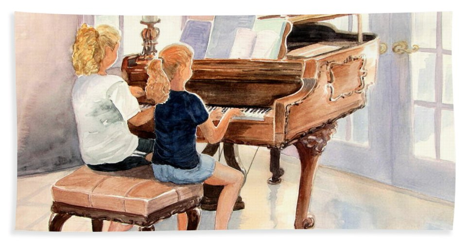 Children Hand Towel featuring the painting The Sister Duet by Marilyn Smith