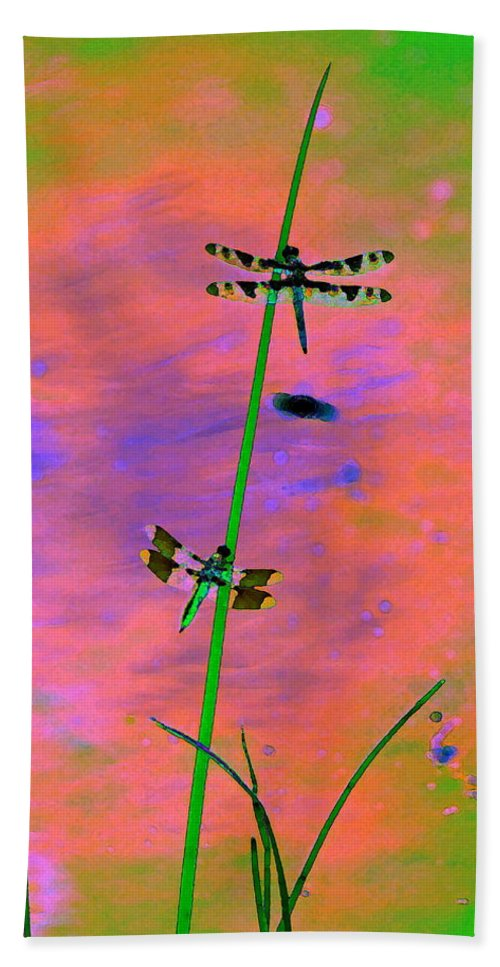 Dragonflies Bath Sheet featuring the photograph The Skimmer And The Whitetail Art #1 by Ben Upham III