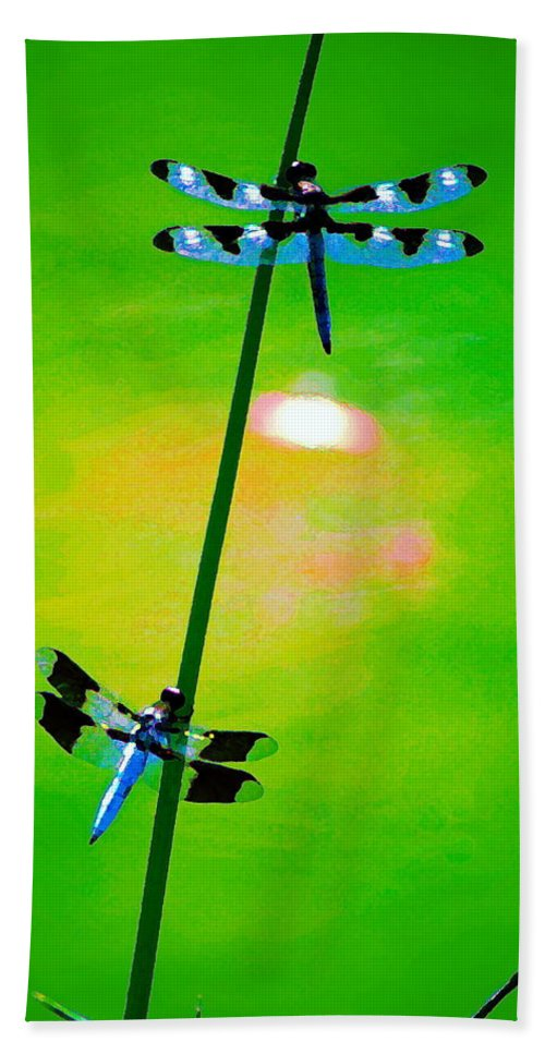 Dragonflies Bath Sheet featuring the photograph The Skimmer And The Whitetail Art #3 by Ben Upham III