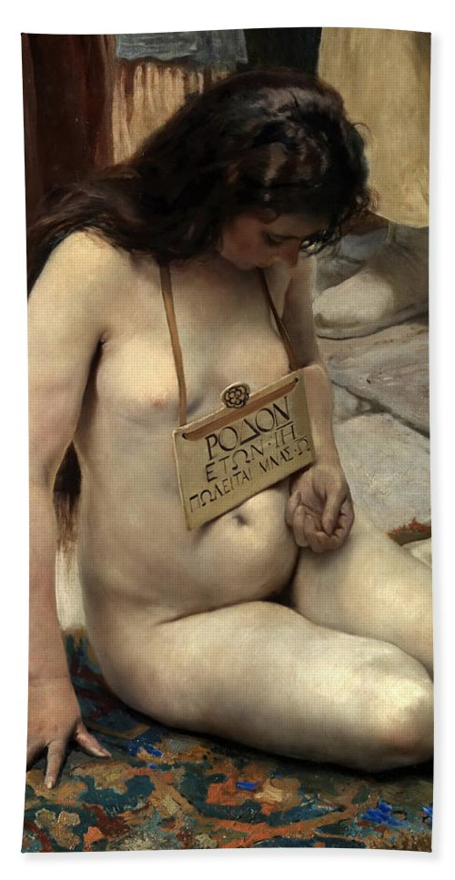 Jose Jimenez Aranda Bath Sheet featuring the painting A Slave For Sale by Jose Jimenez Aranda