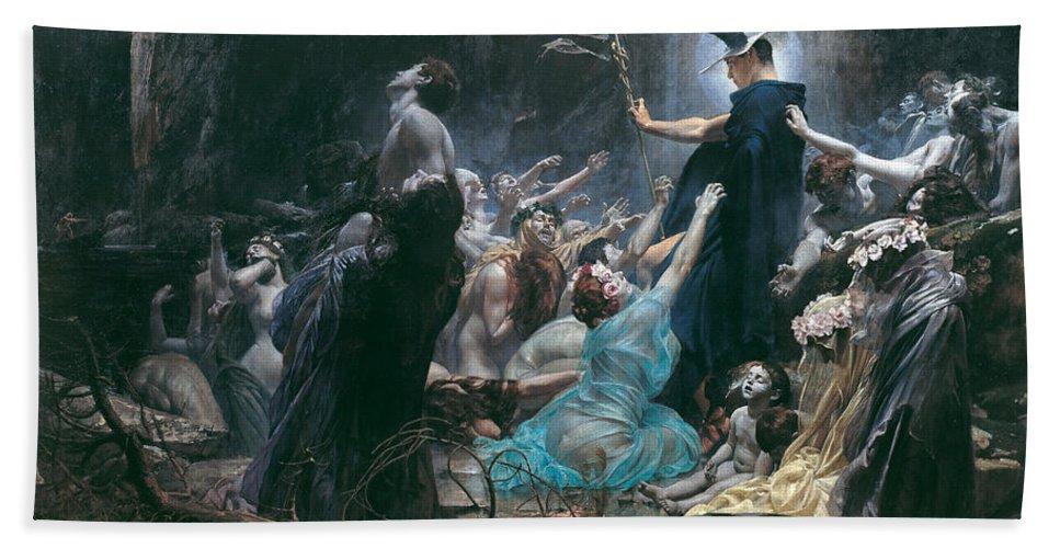Adolf Hiremy-hirschl Bath Sheet featuring the painting The Souls Of Acheron by Adolf Hiremy-Hirschl