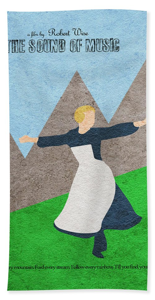 The Sound Of Music Bath Towel featuring the painting The Sound of Music by Inspirowl Design