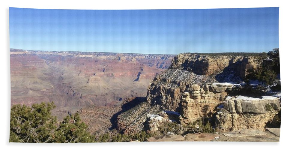 Grand Canyon Hand Towel featuring the photograph The South Rim In The Winter by Christy Gendalia