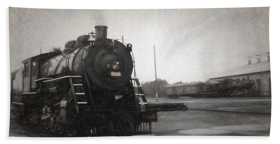 Locomotives Bath Towel featuring the mixed media The Spencer Yard by Richard Rizzo