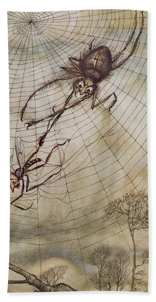 The Spider And The Fly Hand Towel featuring the painting The Spider And The Fly by Arthur Rackham