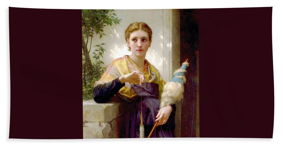 The Spinner Hand Towel featuring the digital art The Spinner Detail by William Bouguereau
