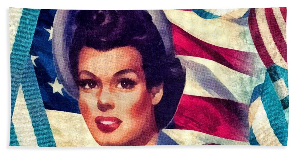 The Spirit Of America Hand Towel featuring the mixed media The Spirit Of America by Mo T