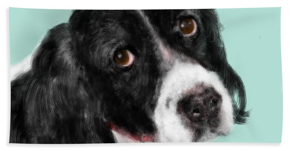 Animal Hand Towel featuring the painting The Springer Spaniel by Lois Ivancin Tavaf