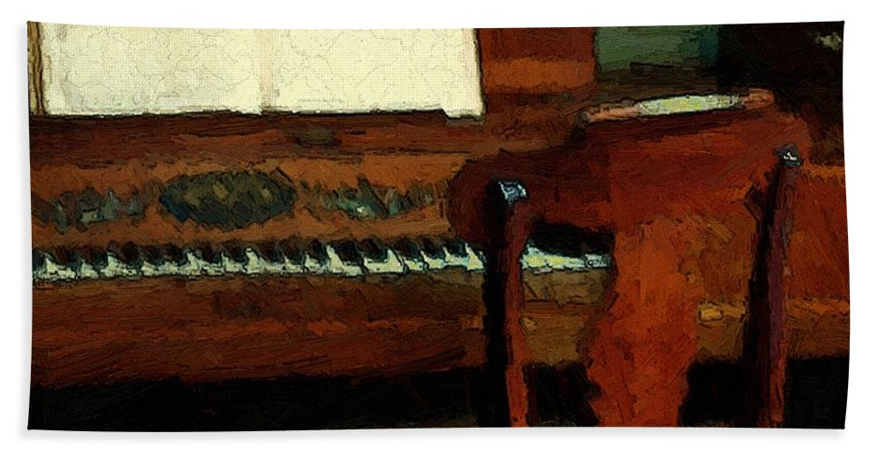 Colonial Bath Towel featuring the painting The Square Piano by RC DeWinter