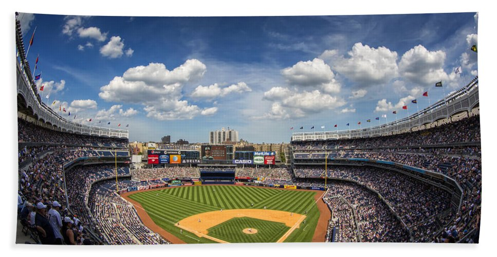 Ny Yankees Hand Towel featuring the photograph The Stadium by Rick Berk