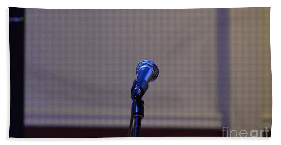 Microphone Hand Towel featuring the photograph The Stage Awaits by Alys Caviness-Gober