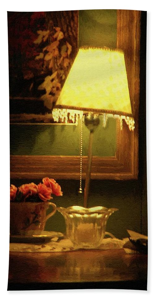 Lamp Hand Towel featuring the painting The Stage Is Set by RC DeWinter