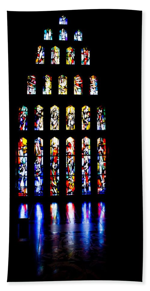 Nazareth Bath Sheet featuring the photograph The Stained Glass Windows Of Mary's Church In Nazareth by Anthony Doudt