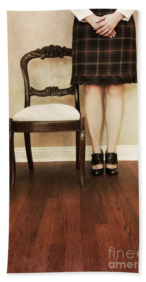 Woman; Female; Lady; Standing; Skirt; Legs; Hands; Knees; School; Teacher; Wood; Shoes; Prim; Proper; Caucasian; Old; Vintage; Plaid; Matron Hand Towel featuring the photograph The Stand by Margie Hurwich