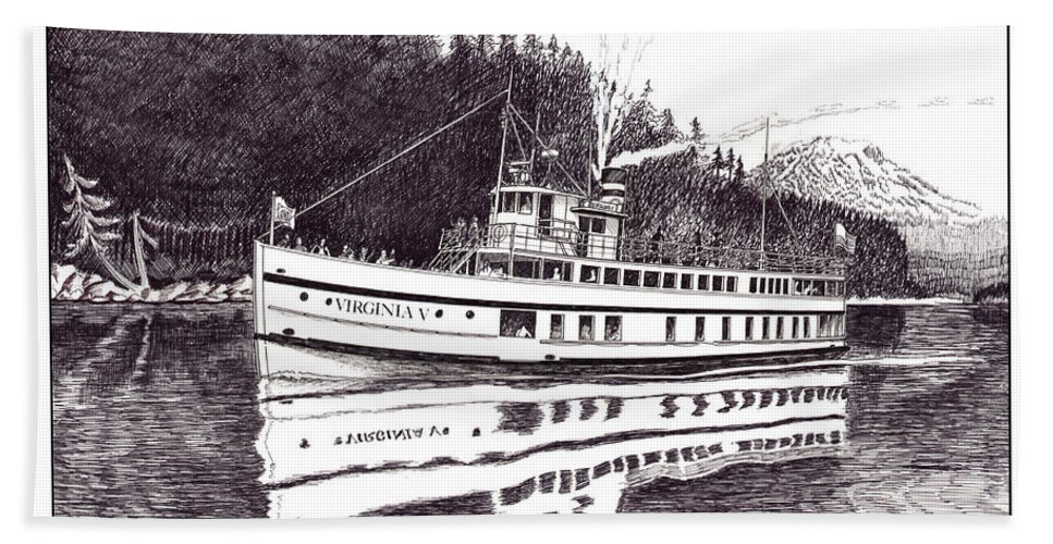 Marine Paintings Marine Art. Canvas Prints Of Boats. Prints Of Boats. Prints Of Waterfront Art. Canvas Prints Of Yachts. Framed Marine Transportation Art.framed Prints Of Lighthouses. Bath Sheet featuring the drawing The Steamer Virginia V by Jack Pumphrey