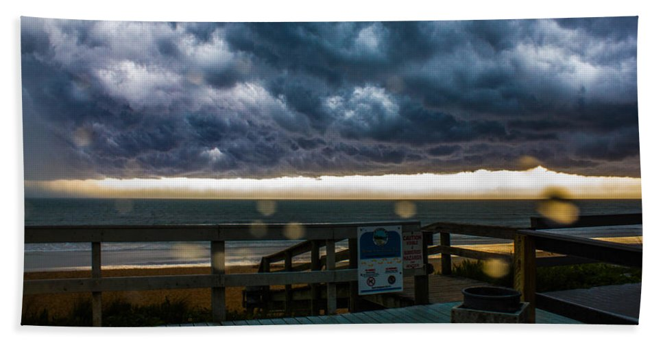 Hand Towel featuring the photograph The Storm by Tyson Kinnison