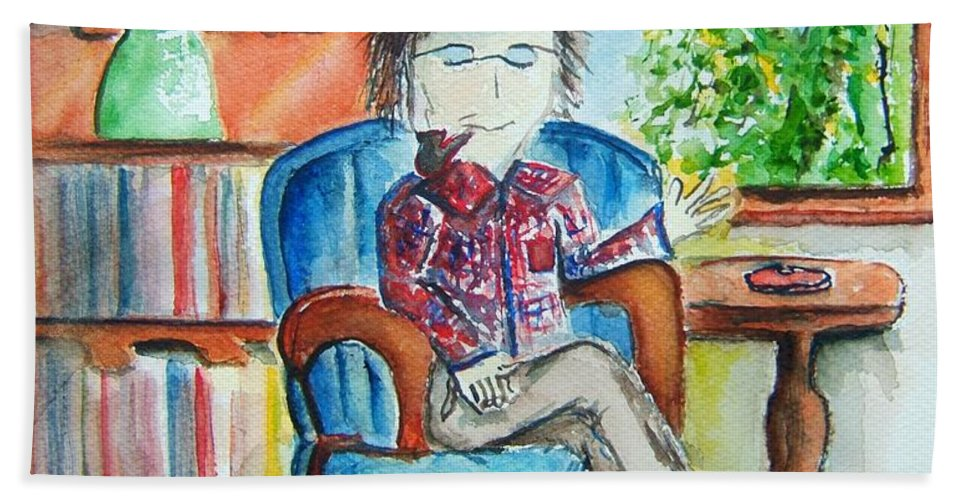Storyteller Hand Towel featuring the painting The Storyteller by Elaine Duras