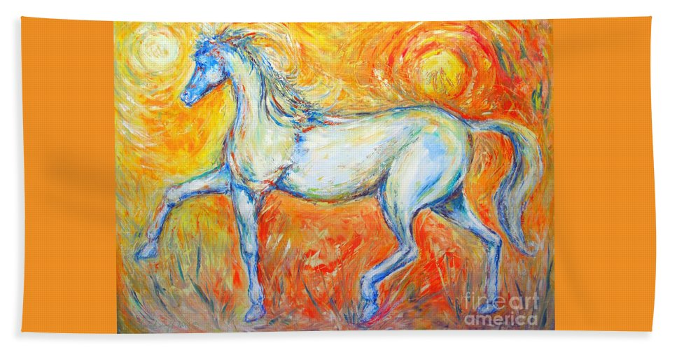 Painting By Frederick Luff Hand Towel featuring the painting The Sun Horse by Frederick Luff