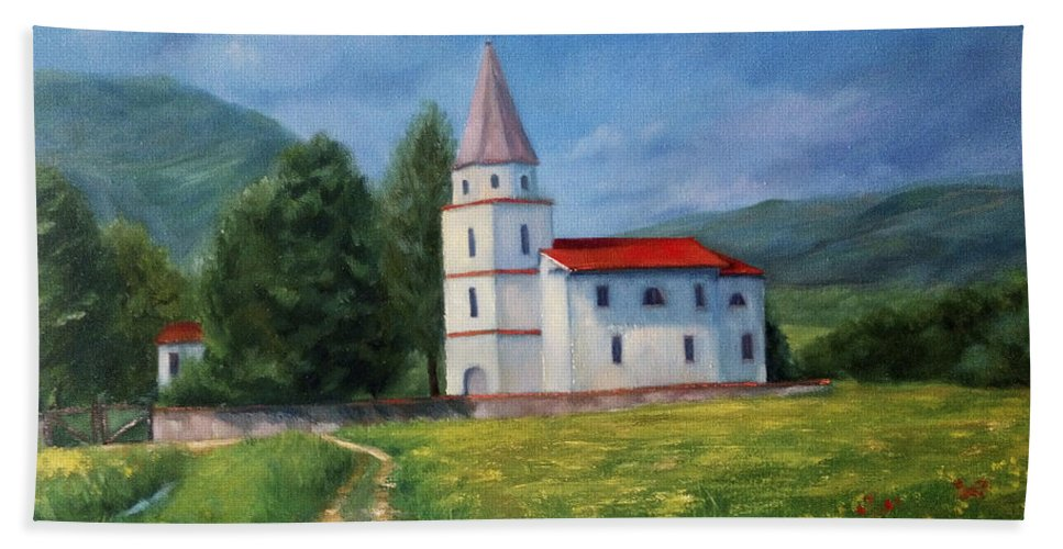 Church Hand Towel featuring the painting The Sunny Road Landscape With Field And Church by Katrin Aster