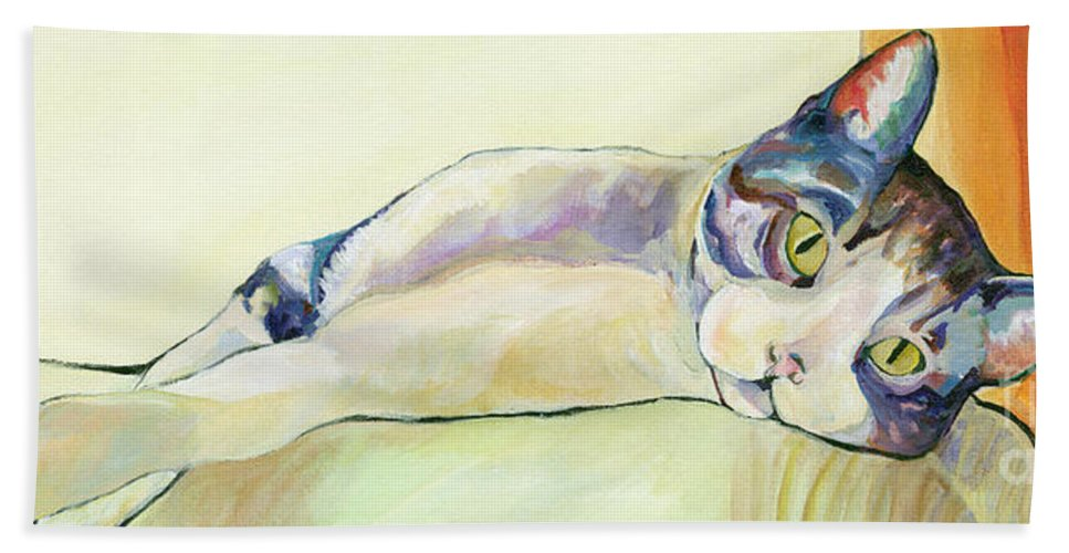 Pat Saunders-white Canvas Prints Hand Towel featuring the painting The Sunbather by Pat Saunders-White