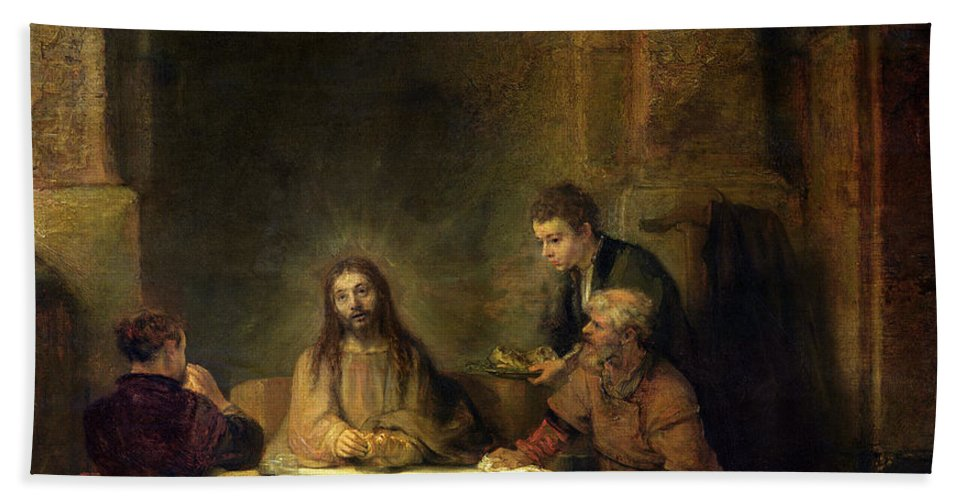 Rembrandt Bath Towel featuring the painting The Supper At Emmaus, 1648 Oil On Panel by Rembrandt Harmensz van Rijn