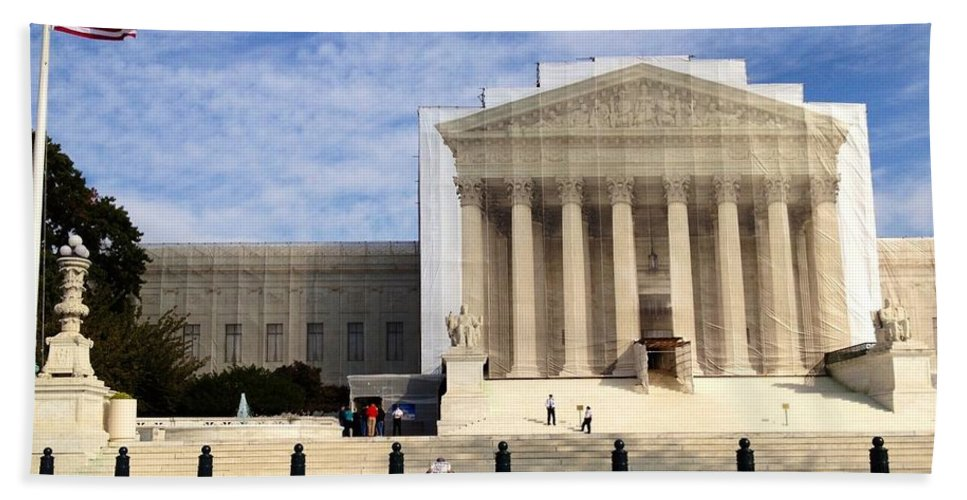 Supreme Court Bath Sheet featuring the photograph The Supreme Court Facade by Lois Ivancin Tavaf