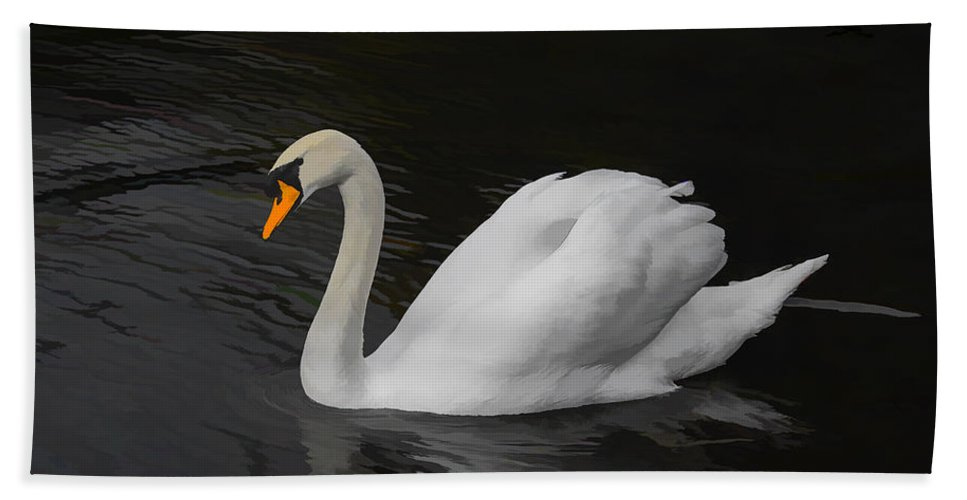 Swan Bath Sheet featuring the photograph The Swan by David Gleeson
