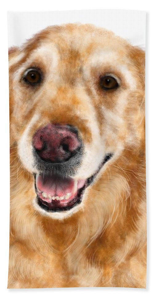 Animals Bath Sheet featuring the painting The Sweet Golden by Lois Ivancin Tavaf