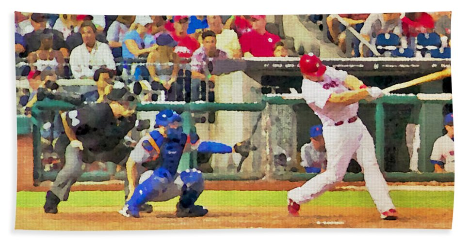 Baseball Bath Sheet featuring the photograph The Swimg by Alice Gipson