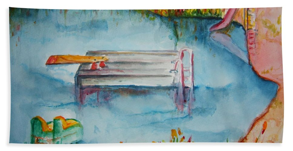 Lake Hand Towel featuring the painting The Swimming Hole by Elaine Duras