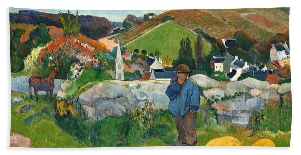 Paul Gauguin Hand Towel featuring the painting The Swineherd by Paul Gauguin