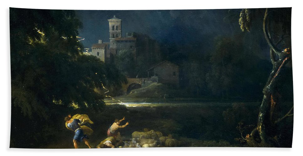 Gaspard Dughet Hand Towel featuring the painting The Tempest by Gaspard Dughet