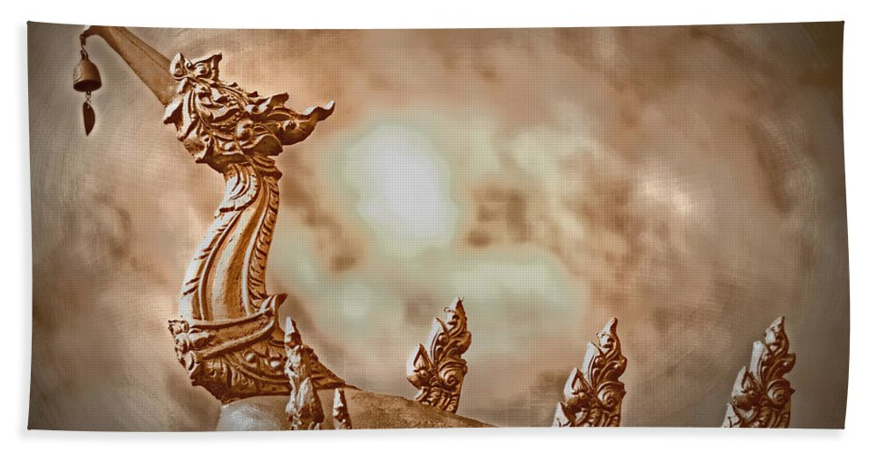 Dragon Hand Towel featuring the photograph The Temple Dragon by Lynn Sprowl