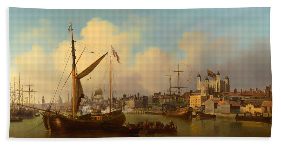 Painting Hand Towel featuring the painting The Thames And Tower Of London On The King's Birthday by Mountain Dreams