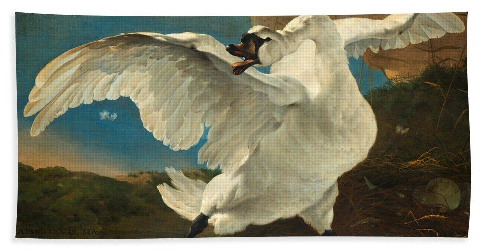 Jan Asselijn Bath Sheet featuring the painting The Threatened Swan by Jan Asselijn