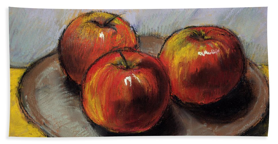 The Three Apples Bath Sheet featuring the pastel The Three Apples by Mona Edulesco