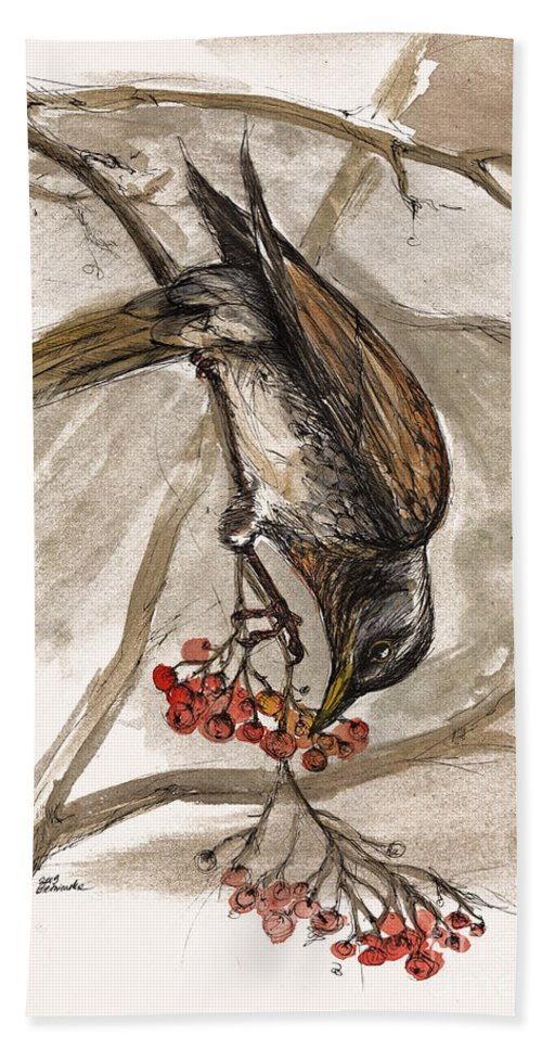 Thrush Hand Towel featuring the painting The Thrush Eating Cranberries by Angel Ciesniarska