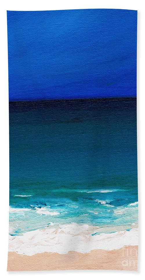 Seashore Hand Towel featuring the painting The Tide Coming In by Frances Marino