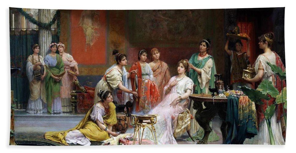 Juan Jimenez Y Martin Bath Sheet featuring the painting The Toilet Of A Roman Lady by Juan Jimenez y Martin