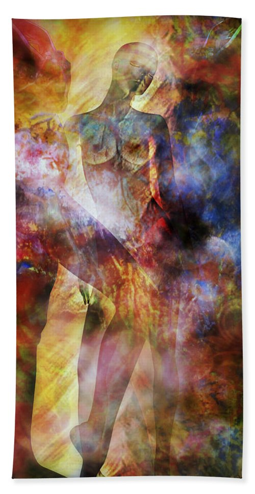 Nude Bath Sheet featuring the mixed media The Touch by Ally White